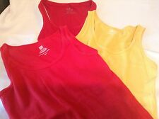 3 Ladies Tank Tops Ribbed Red Yellow M L 12-14 Aerie Faded Glory Soft Clean