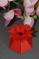 Flower Style Favour Boxes ~ Red ~ Pack of 10 ~ Sweets, Cakes, Macaroons, Chocs