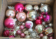 Vintage Lot PINK Silver White Glass Christmas ORNAMENTS Mica Caps Glitter Crafts