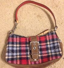 Coach7570(blue Tan Red) Plaid Wool/Leather Clutch Bag Purse