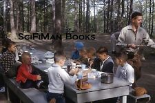 KODACHROME 35mm Slide Cute Boys Camping Picnic Tables Gloves Handsome Man 1964!