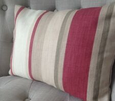 "12x16"" cushion cover in Laura Ashley Awning stripe Lichen/raspberry & Austen"