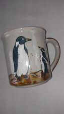 Otagiri Penguins VTG Coffee Mug Cup Speckled Mom Baby Mother Child Japan Stone