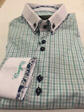 New Mens Coogi Green Check With Floral Double Collar Dress Shirt, Size M
