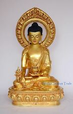 "Fine 19"" Medicine Buddha Gold Gilded Face Painted Copper Statue Frm Patan, Nepal"
