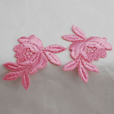 10 Lace Rose Flower APPLIQUE Motifs - Pink or Black - 7cm x 4cm