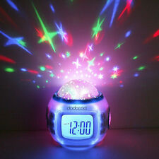 Music Led Star Sky Projection Digital Alarm Clock Calendar Thermometer Kids Gift