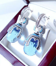 SALE !  SUPERB RUSSIAN BLUE TOPAZ STERLING SILVER 925  EARRINGS w/ ENAMEL