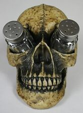 HUMAN SKULL SALT & PEPPER SHAKER HOLDER Horror Skeleton NEW Resin Kitchen Dining