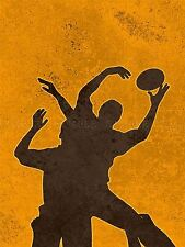PAINTING SPORT ILLUSTRATION RUGBY FOOTBALL SILHOUETTE JUMP POSTER PRINT BMP10340