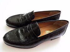 NEW SALVATORE FERRAGAMO Black Crocodile Leather Shoes Loafers 10.5 US 44 Euro