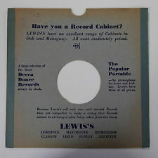 """78rpm 10"""" card gramophone record sleeve / cover LEWIS`S"""