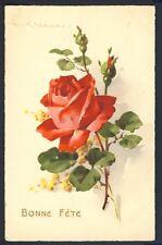 CARTE POSTALE Illustration Litho Signée C. KLEIN Bouquet ROSE et MIMOSAS Flowers