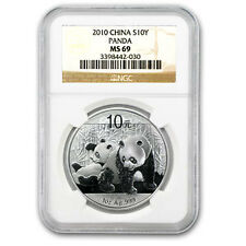 2010 1 oz Silver Chinese Panda Coin - MS-69 NGC