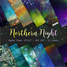 Northern Lights Digital Paper, Starry Night Backgrounds, Star Night Sky Digital