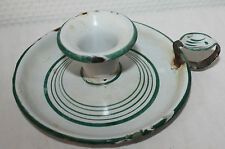 Vintage French Enameled Rustic Candle Holder Candlestick Green White DISTRESSED