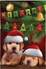 New Lg Evergreen Christmas Flag Welcome Santa Yellow Labrador Puppy Dogs 29 X 43
