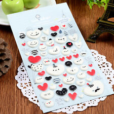 1 sheet Love Hearts smiling face DIY puffy scrapbooking decoration stickers