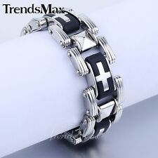 "Cross Motorcycle 8.2"" Men Chain Boy Silver Stainless Steel Black Rubber Bracelet"