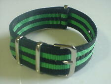 Black/Green Bond Nylon military 20mm strap fitsTIMEX Weekender &+ ZULU watch
