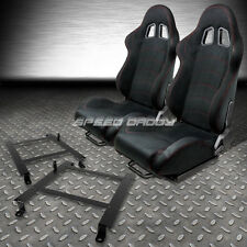 2 X BLACK SUEDE RECLINABLE RACING SEATS+LOW MOUNT BRACKET FOR 97-04 CORVETTE C5
