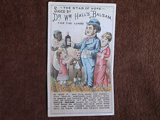 Dr Wm Hall's Balsam for Lungs/Comic Fold-Down Trade Card/Sick Man Made Healthy