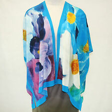 NEW NWT Cocoon House Flowers Without Borders 100% Silk Kimono Top Large/XL 1X 2X