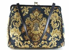 Women's CHRISTIANA Blue And Gold Tote Purse Size M