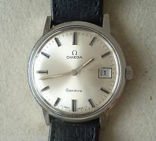 NICE Vintage 1960/70s men's winding watch OMEGA GENEVE w/ date GENUINE 1ST BAND