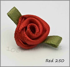 Small Satin Ribbon Roses Choice of 42 Colours & Packet Size 20, 50, 100, 500