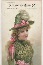 1880s Cardboard Advertising Sign Standard Soap Co San Francisco Pretty Lady