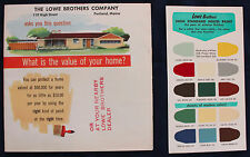 Original 1950s Lowe Brothers House Paint Flyer and Paint Chip Card