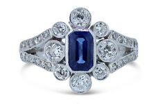 Art Deco Sapphire and Old Cut Diamond Cluster Ring Platinum 0.85ct + 0.65ct