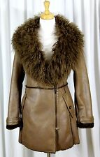 NEW LAUNDRY Shelli Segal BROWN FAUX SHEARLING REAL MONGOLIAN LAMB FUR ZIP COAT L