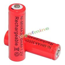 2x AA battery batteries Bulk Nickel Hydride Rechargeable NI-MH 3000mAh 1.2V Red