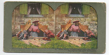 1890s Black Americana  Stereo Card of Black Woman knocking over White Kids
