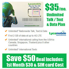 Free 1st Month - LycaMobile Prepaid SIM Card $35 Unlimited Talk Text & Data Plan
