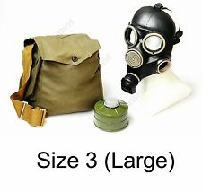 Russian military Black gas mask GP-7 with filter bag & antifog lenses. 3 LARGE