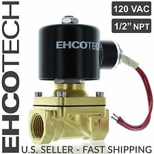 "1/2"" Brass Electric Solenoid Valve 110V 120V Volt AC  Water Air Gas FKM NC B21V"