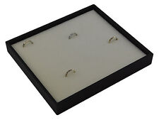 Black Plastic Stackable Ring Display Tray with White Velvet Pad to hold 36 rings