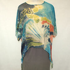 NEW NWT Cocoon House Tropical Fan Sheer 100% Silk Pointed Top Blouse Large / XL