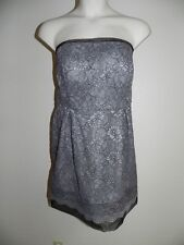 Davids Bridal Dress Plus Size 20 Strapless Mercury Gray Lace Bridesmaid NWT $149