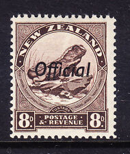 NEW ZEALAND 1942 SG0128 8d chocolate opt Official P121/2 wmk s'ways u/m. Cat £23