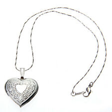 New Hollow Silver Plated Heart Locket Charm Pendant Long Chain Necklace Fashion