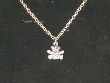 "VTG 15"" SILVERTONE CHAIN W/THE TINIEST PEWTER TEDDY BEAR PENDANT EVER! n228"