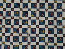 """Unfinished Quilt Top - Micky Chain, blue, black and red, approx 62"""" x 62"""""""