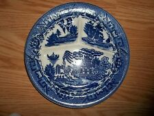 Vintage Moriyama Japan Cobalt Blue Willow Divided Dinner Plate