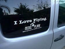 I Love Flying. Miniplane Paramotor Vinyl Car Sticker, WHITE Small size