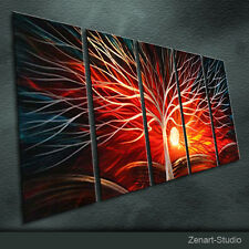 Original Modern Metal Wall Art Abstract Painting Indoor Outdoor Decor by Zenart
