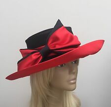 NEW Black/Red Satin Dress Hat With Satin Bow Wedding Mother Of The Bride, Ascot